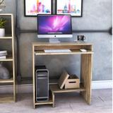 Mesa para Computador 2 Prateleiras Suporte Retrátil Bit Compace Carvalho