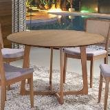 Mesa redonda belle em madeira de eucalipto e tampo mdf laminado com carvalho - champagne - Seiva