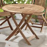 Mesa redonda ripada dobrável para áreas externas em madeira eucalipto - maior durabilidade - canela - Casatema