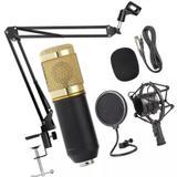 Microfone Condensador Estúdio Bm800 Pop Filter Aranha e Braço Articulado GT813 - Lorben