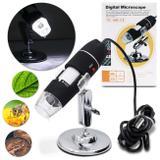 Microscópio Digital Usb Zoom 1000x HD Câmera 2.0 MP Profissional 8 LEDs Preto - Prime