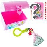 Mini Baú Princesas com Adesivo e Chaveiro Sereia Ariel Princesas Disney - Cim