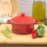 Mini Caçarola De Porcelana Vermelha 13Cm - Fancy
