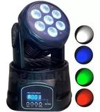Mini Moving Head Led Luz De Festa 7w Luzes RGBW Display Digital Bivolt Lk-293