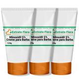 Minoxidil 5 Creme para Progressão da Barba 120g (3Und) - Extrato flora