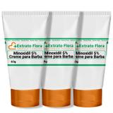 Minoxidil 5 Creme para Progressão da Barba 60g (3Und) - Extrato flora
