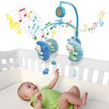 Móbile em Pelúcia Giratório Musical De Bebê Soneca - Azul - Kitstar