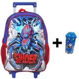 Mochila Escolar Infantil Spider Com Rodinhas Menino e Copo de Brinde - Coli