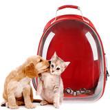 Mochila Pet Panorâmico Design Astronauta Cães Gatos Vermelho - Magma