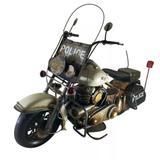 Motocicleta Policial 38cm Police Estilo Retrô - Vintage - Drina