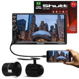 MP3 MP5 Player Automotivo Shutt Chicago TV 7 Pol Bluetooth Tv Digital USB + Câmera Ré Colorida 2x1 - Kit shutt