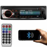 MP3 Player Automotivo Hurricane HR-425 BT 1 Din Bluetooth Led USB SD Auxiliar P2 Rádio FM