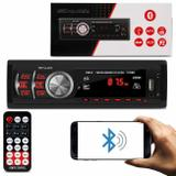 MP3 Player Automotivo Shutt Montana 1 Din 3.5 Polegadas Bluetooth USB SD FM 1782B com Controle