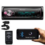 MP3 Player Pioneer MVH-X700BR 1 Din BT Interface Android iOS Spotify Mixtrax USB AUX Com Controle