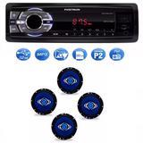 Mp3 Player Positron Sp2210 Usb Sd Radio Fm e Kit 4 Alto Auto Falantes Hurricane  6 Polegadas