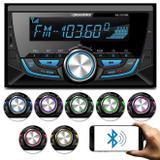 MP3 Player Roadstar 2 Din Bluetooth USB SD Auxiliar P2 Rádio FM Controle 7 Cores Carrega Celular