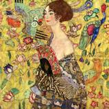 Mulher com Leque - Gustav Klimt - Tela 50x50 Para Quadro - Santhatela