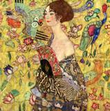 Mulher com Leque - Gustav Klimt - Tela 60x60 Para Quadro - Santhatela