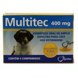Multitec 400mg Vermífugo Cães c/ 5kg 4 comp  Syntec