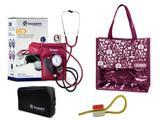Novo Kit Aparelho de Pressão com Estetoscópio Clinico Duplo Vinho Incoterm + Bolsa JRMED