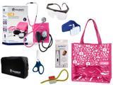 Novo Kit Aparelho De Pressão com Estetoscópio Duplo Incoterm Completo - Pink