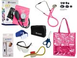 Novo Kit Aparelho De Pressão com Estetoscópio Rappaport Incoterm Completo - Pink