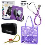 Novo Kit Aparelho de Pressão com Estetoscópio Rappaport Incoterm Lilás + Bolsa JRMED