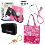 Novo Kit Aparelho de Pressão com Estetoscópio Rappaport Incoterm Pink + Bolsa JRMED