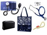 Novo Kit Aparelho de Pressão com Estetoscópio Rappaport Premium Azul + Bolsa JRMED
