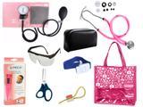 Novo Kit Aparelho De Pressão com Estetoscópio Rappaport Premium Completo - Rosa