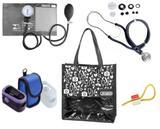 Novo Kit Enfermagem: Aparelho de Pressão com Estetoscópio Rappaport Grafite Premium + Oxímetro - G-Tech + Bolsa JRMEDED