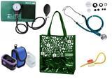 Novo Kit Enfermagem: Aparelho de Pressão com Estetoscópio Rappaport Verde Premium + Oxímetro - G-Tech + Bolsa JRMED