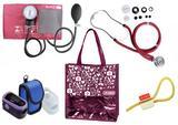 Novo Kit Enfermagem: Aparelho de Pressão com Estetoscópio Rappaport Vinho Premium + Oxímetro - G-Tech + Bolsa JRMED