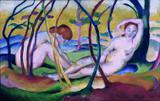 Nus sob árvores - Franz Marc - Tela 30x47 Para Quadro - Santhatela