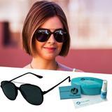 Oculos De Sol Grande Preto Uv 400 Feminino Retro - Isabela dias