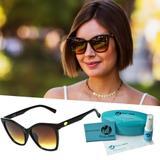 Oculos De Sol Quadrado Gatinho Marrom Degrade - Isabela dias