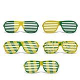 Óculos Persiana Multicolor Plástico Verde e Amarelo 12 unidades Brasil - Festabox