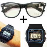 Oculos Preto com lentes Sem Grau e Relógio Aqua Aq-81 - Oficina dos relógios