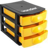 Organizador plástico mini com 3 gavetas preto e amarelo - Vonder