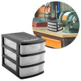 Organizador Plástico para Ferramentas Gaveteiro Vonder 3 Gavetas Capacidade 3Kg Preto e Transparente