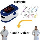 Oxímetro de Pulso Azul + Estetoscópio Rappaport Preto = Ganhe 1 Jaleco (Avental) Branco de Manga Longa - Lojão Da Saúde