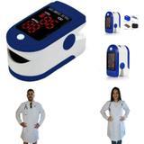 Oxímetro de Pulso Azul + Jaleco (Avental) Branco de Manga Longa - Lojão Da Saúde