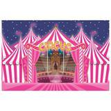 Painel de festa Infantil Circo Rosa  2.00m X 1.40m - Wrio