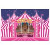 Painel de festa Infantil Circo Rosa  3.00m X 1.70m - Wrio