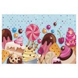 Painel de festa Infantil Doces 3.00m X 1.70m - Wrio