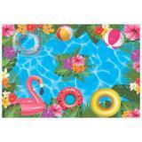 Painel de festa Infantil  Flamingo Piscina 2.00m X 1.40m - Wrio