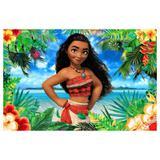 Painel de festa Infantil Moana Flores 1.80m X 1.30m - Wrio
