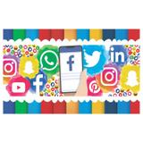 Painel de festa Infantil Redes Sociais  1.80m X 1.30m - Wrio