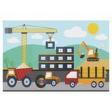 Painel de festa Infantil Trator Construção 1.80m X 1.30m - Wrio