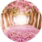 Painel de Festa Redondo em Tecido Sublimado com elástico Floresta Ipê Rosa - Sublime sonhos